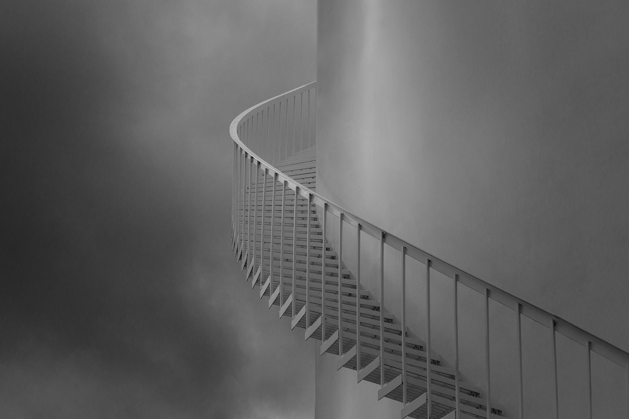 A staircase on a chemical holding tank photographed by Houston corporate photographer, Todd Spoth.