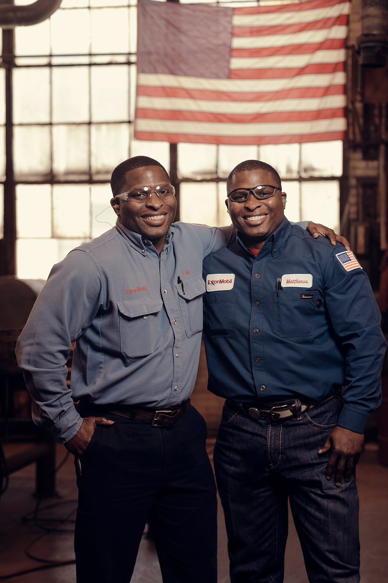 A pair of twins and Exxon Mobil employees based in Beaumont, Texas photographed by oil & gas photographer, Todd Spoth.