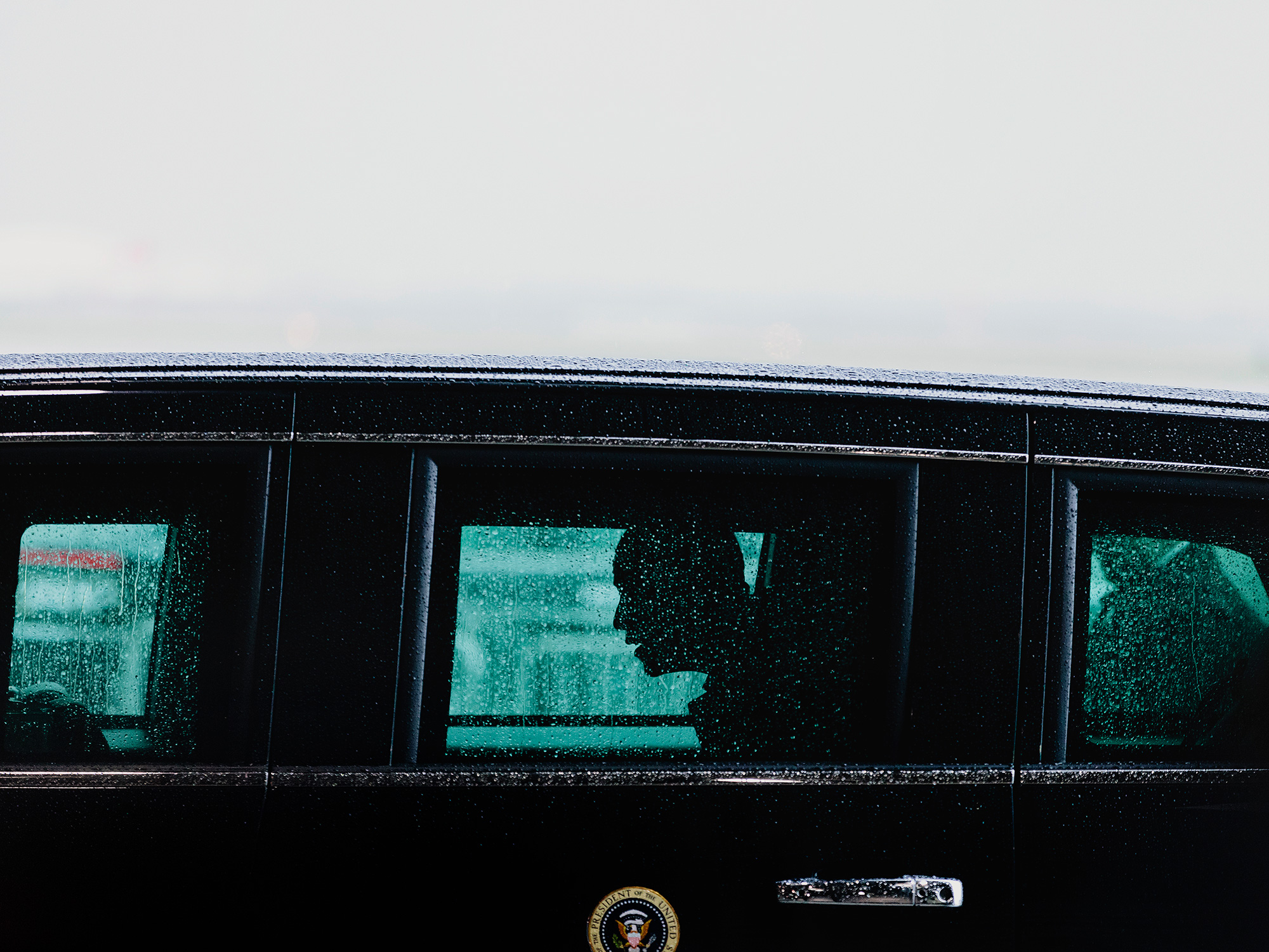 President Barack Obama, photographed in his motorcade at Ellington Field in Houston, Texas by Todd Spoth.