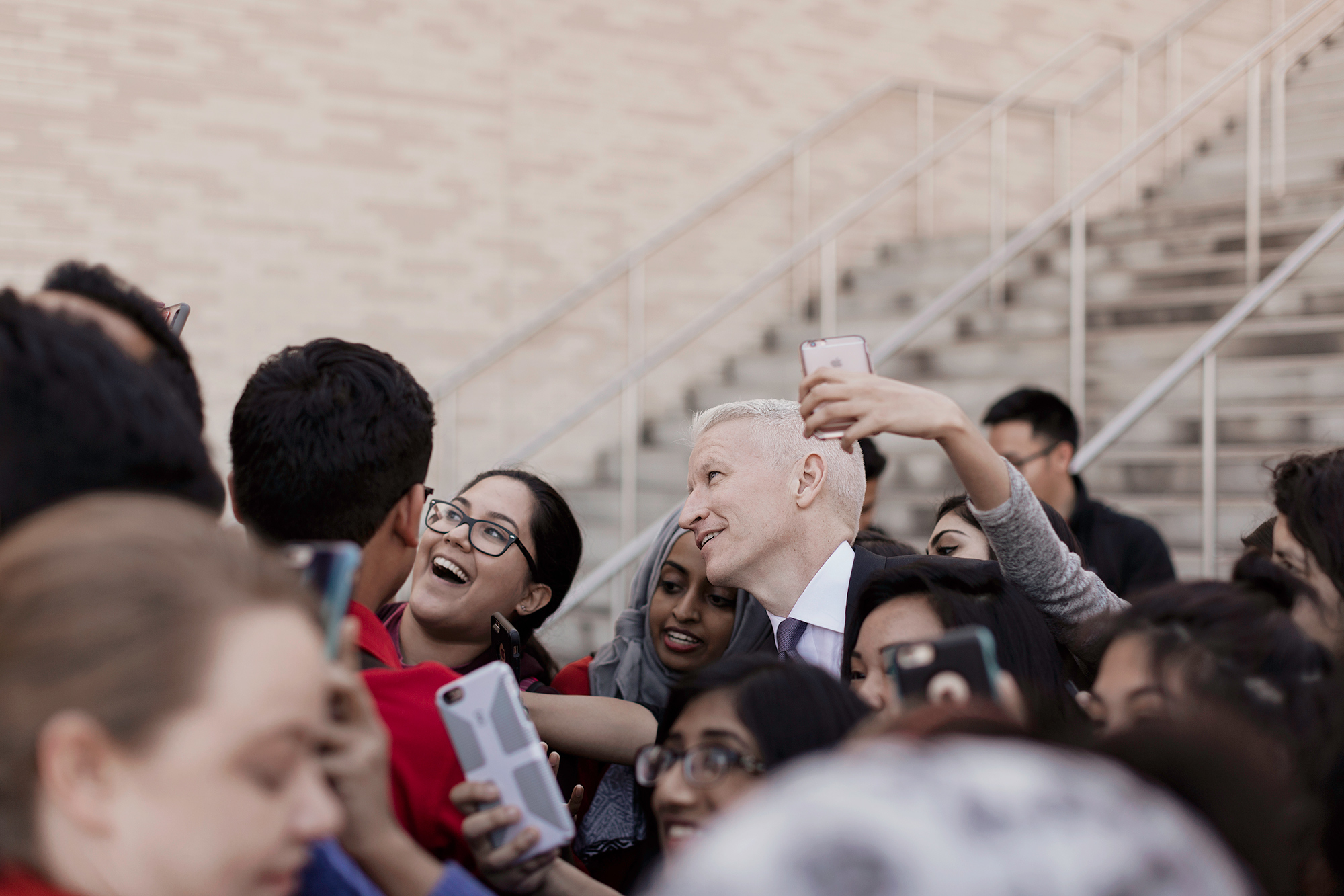 Anderson Cooper, CNN anchor and host of AC360, greets the students of the University of Houston, prior to the 2016 Presidential Debate at UH in Houston, Texas photographed by Houston photographer, Todd Spoth.