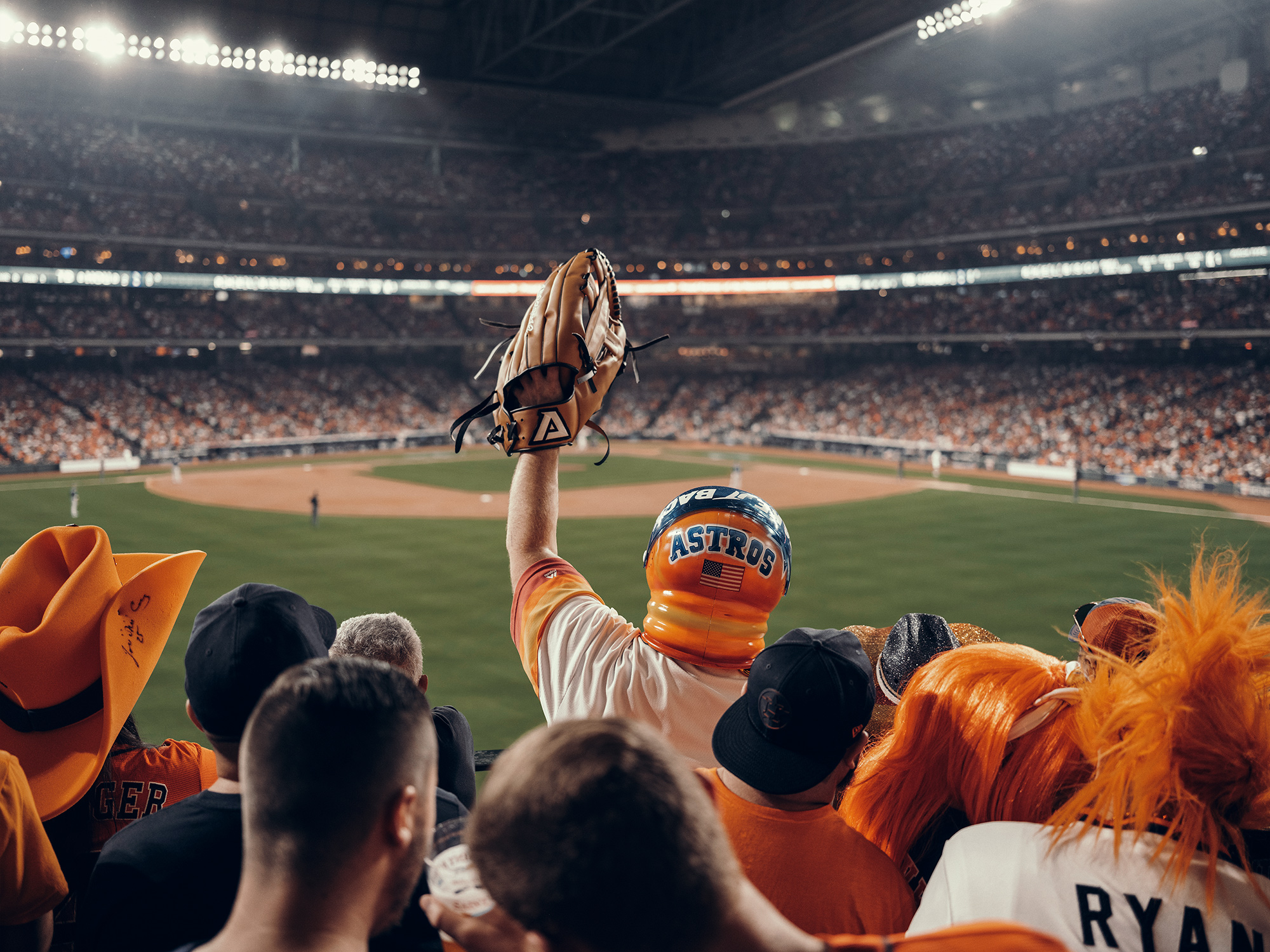 Houston Astros MLB baseball fans during the 2019 World Series, photographed by Houston photographer, Todd Spoth.
