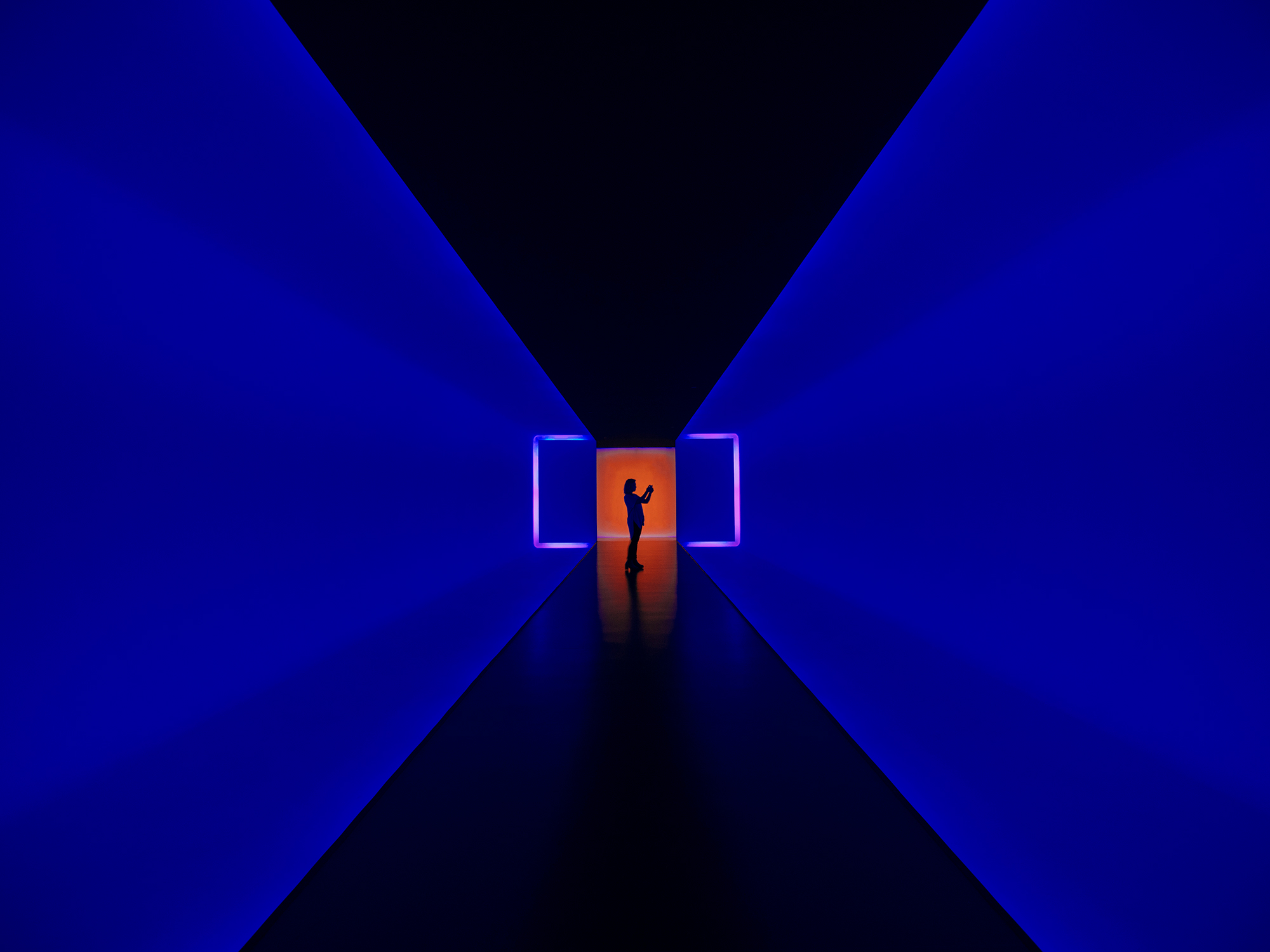 "A view of ""The Light Inside"", an interactive light installation by contemporary artist, James Turrell, completed in 1999, photographed by Houston commercial photographer, Todd Spoth."