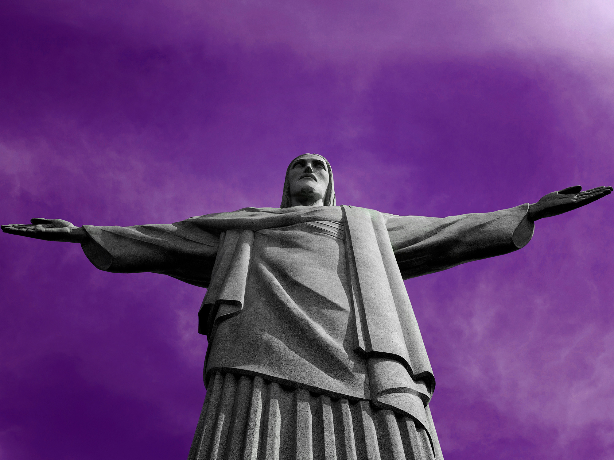 A detail of the Christ The Redeemer statue in Rio de Janeiro, Brazil, photographed by photographer, Todd Spoth.