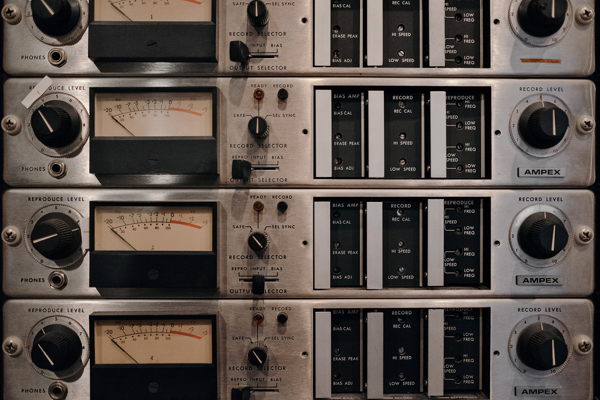 A stack of vintage compressor units inside of the legendary Sugarhill Studios in Houston, Texas photographed by Todd Spoth.