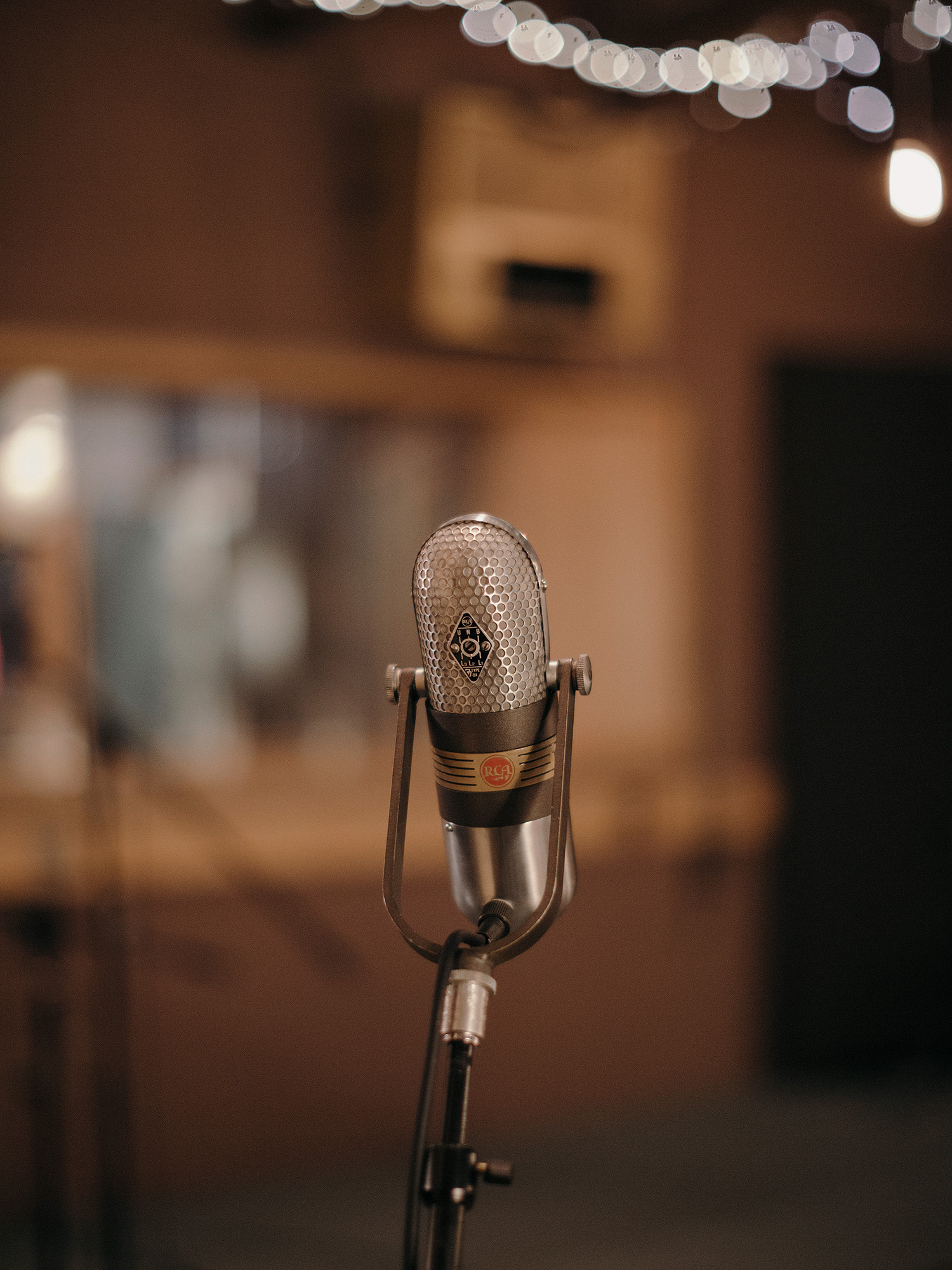 A vintage microphone in studio A at the legendary Sugarhill Studios in Houston, Texas, photographed by editorial photographer, Todd Spoth.