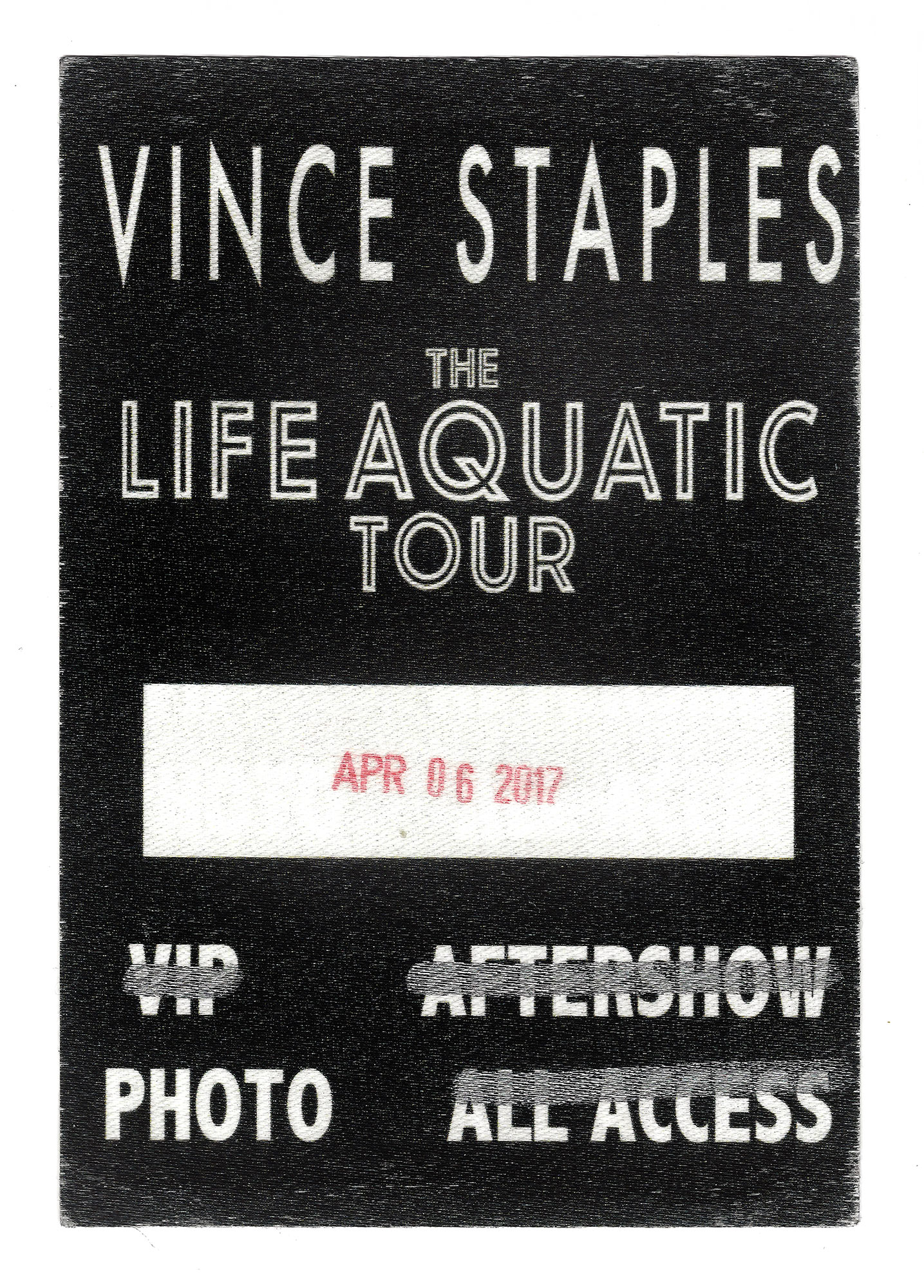 "A media and photo pass for the Vince Staples: ""The Life Aquatic"" tour stop in Houston, Texas by Houston entertainment photographer, Todd Spoth."