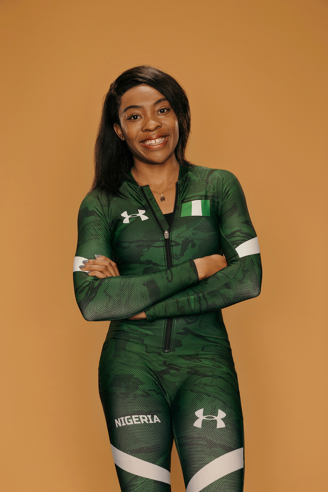 Ngozi Onuwere, Nigerian Olympic bobsledder and University of Houston sprinter, photographed in her Under Armour competition kit, by editorial photographer, Todd Spoth