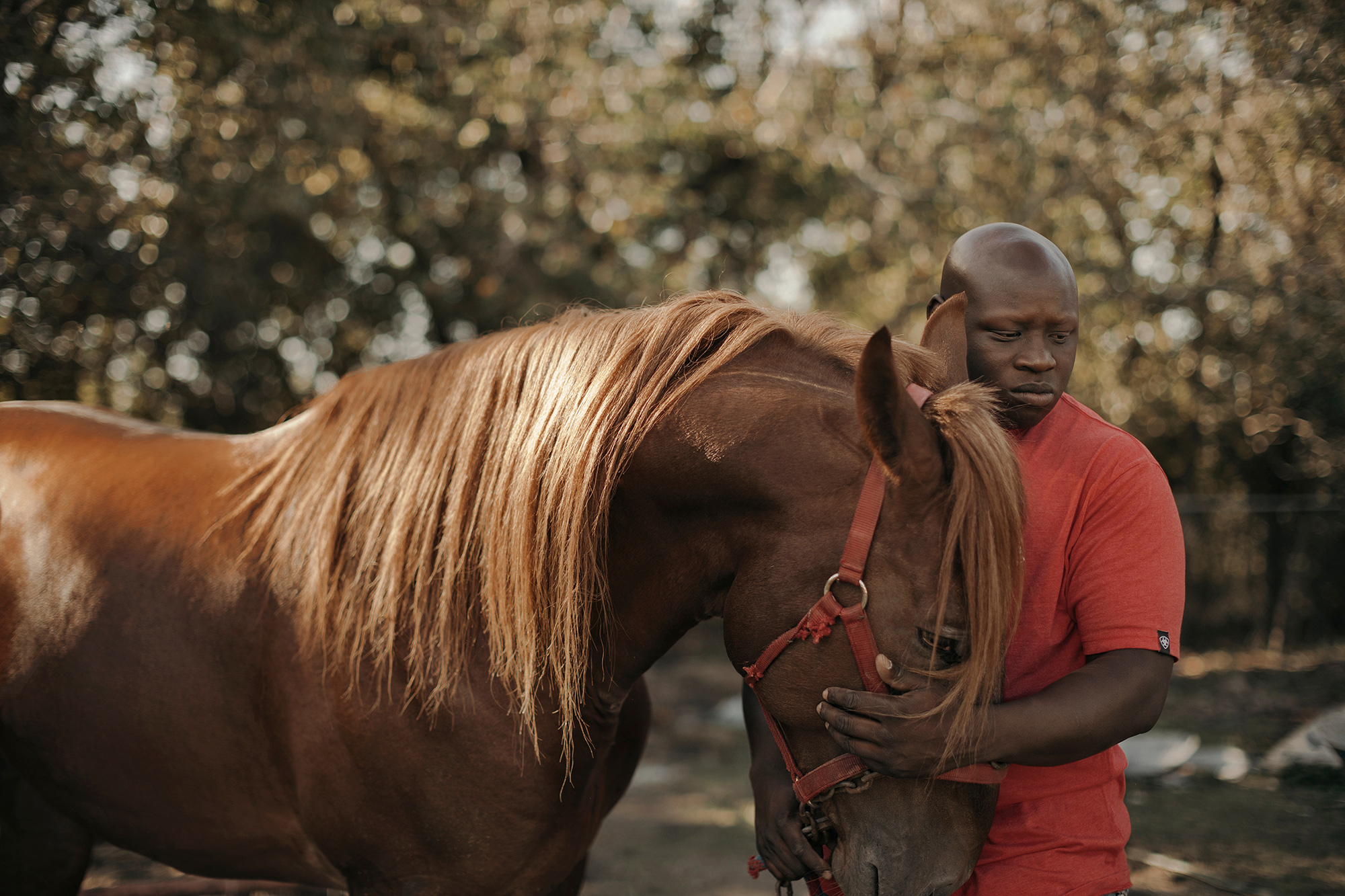Baldenna Tha King, Houston zydeco musician and stable master, the trail-riding rapper, photographed with one of his horses at his stables in Houston, photographed by Todd Spoth.