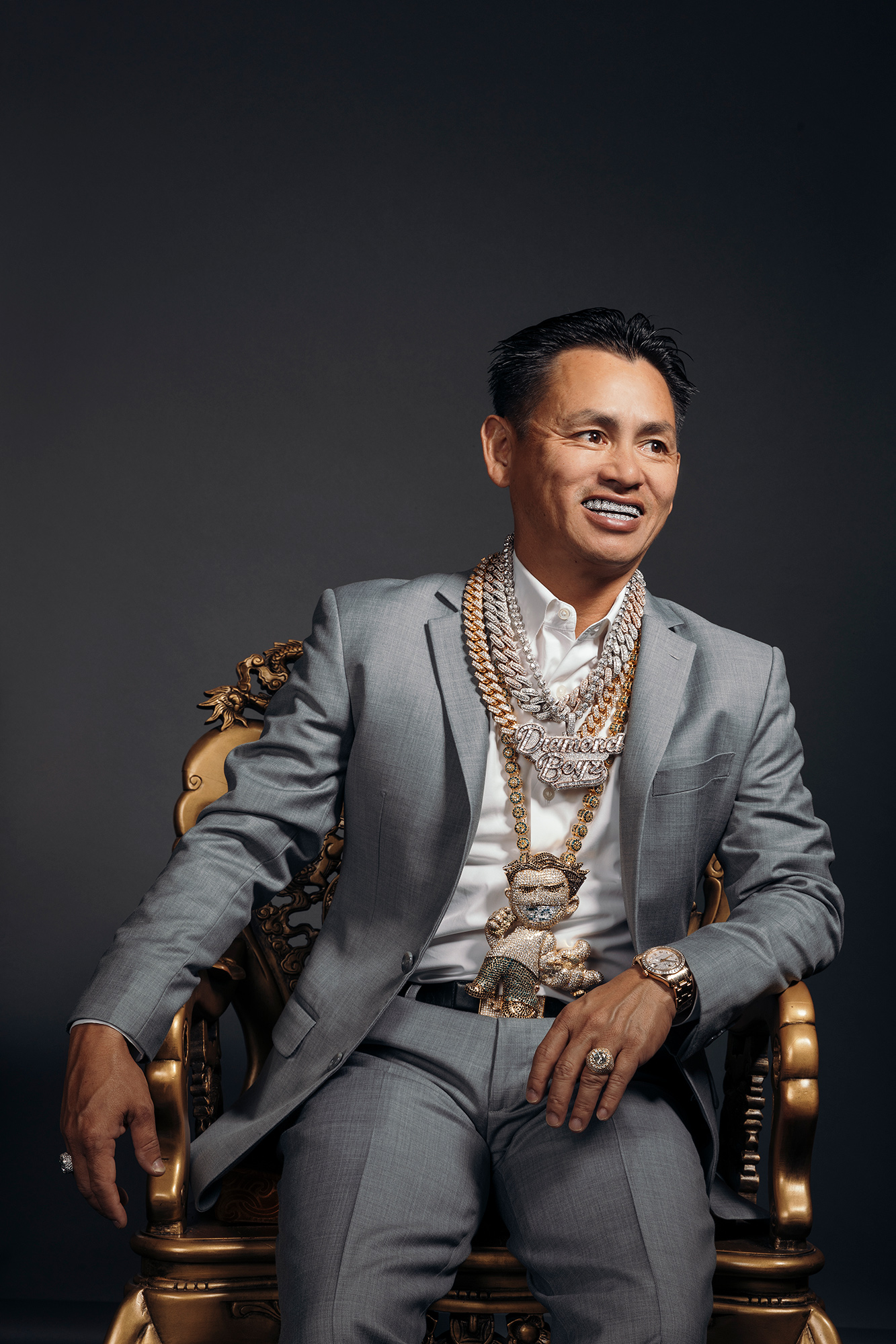 "Johnny ""TV Johnny"" Dang, celebrity jeweler and owner of Johnny Dang & Co, photographed in his office at Johnny Dang & Co headquarters, by Houston editorial and commercial photographer, Todd Spoth."