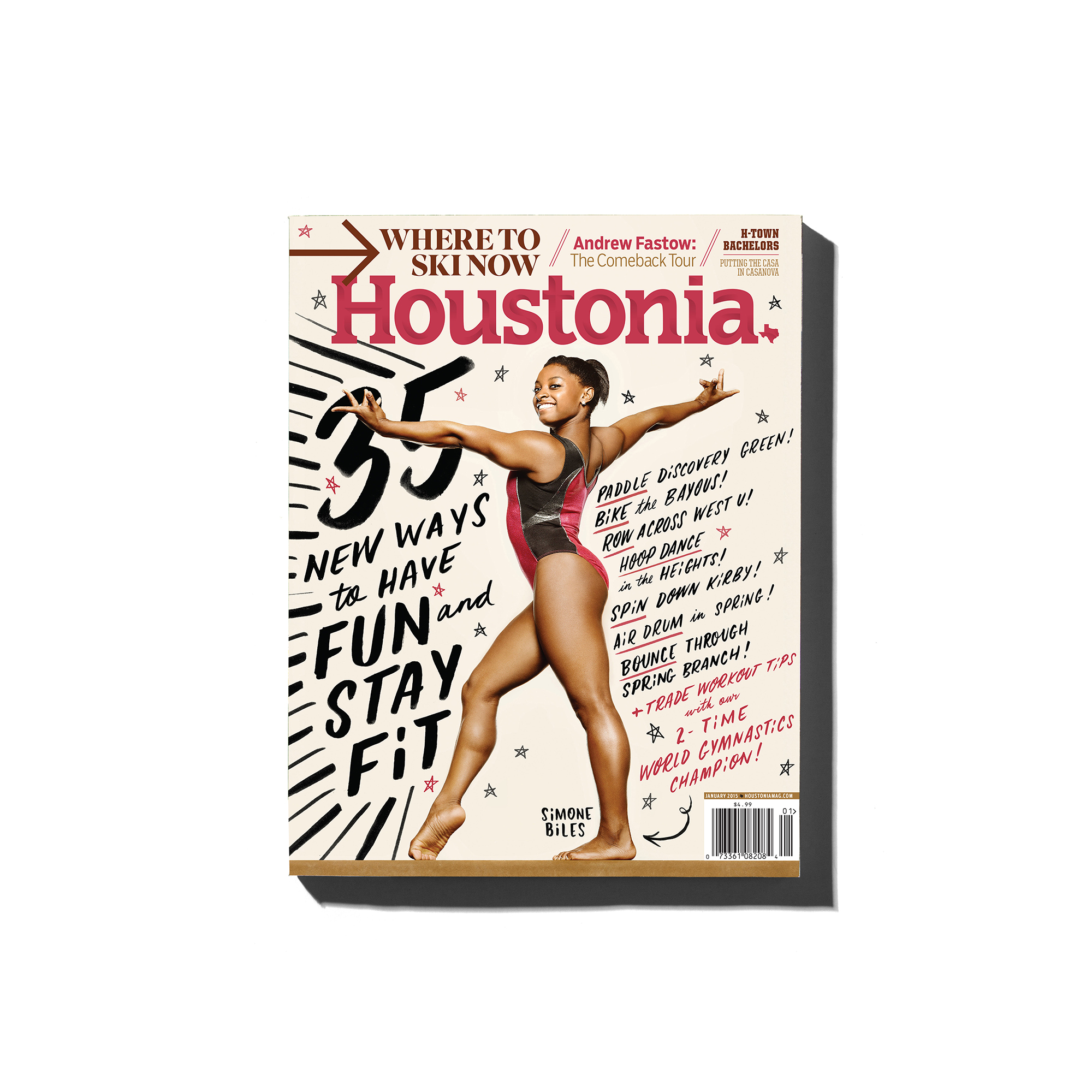 US gold-medal winning olympic gymnast, Simone Biles, photographed by editorial and commercial photographer, Todd Spoth, for the cover of Houstonia Magazine.