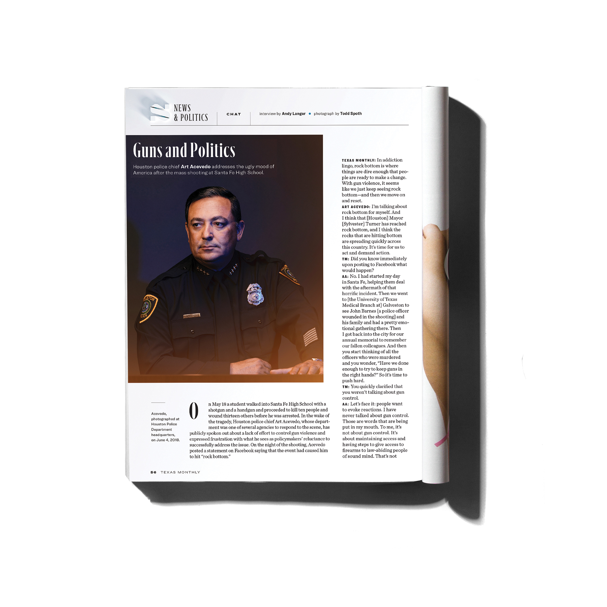 Houston police chief, Art Acevado, photographed by Houston editorial photographer, Todd Spoth, for client, Texas Monthly magazine.