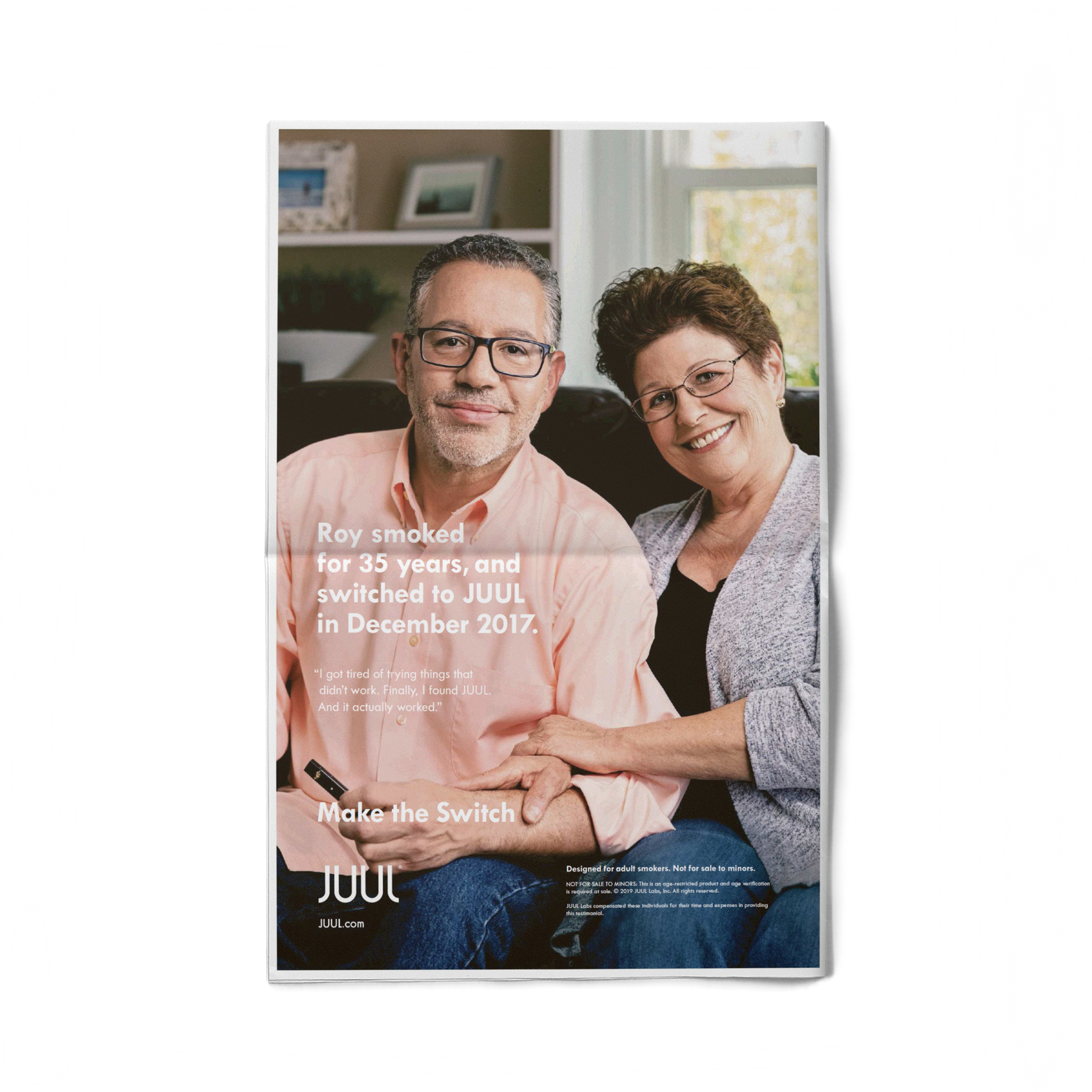 A testimonial couple is photographed in their Pennsylvania home by commercial photographer, Todd Spoth for client JUUL Labs.