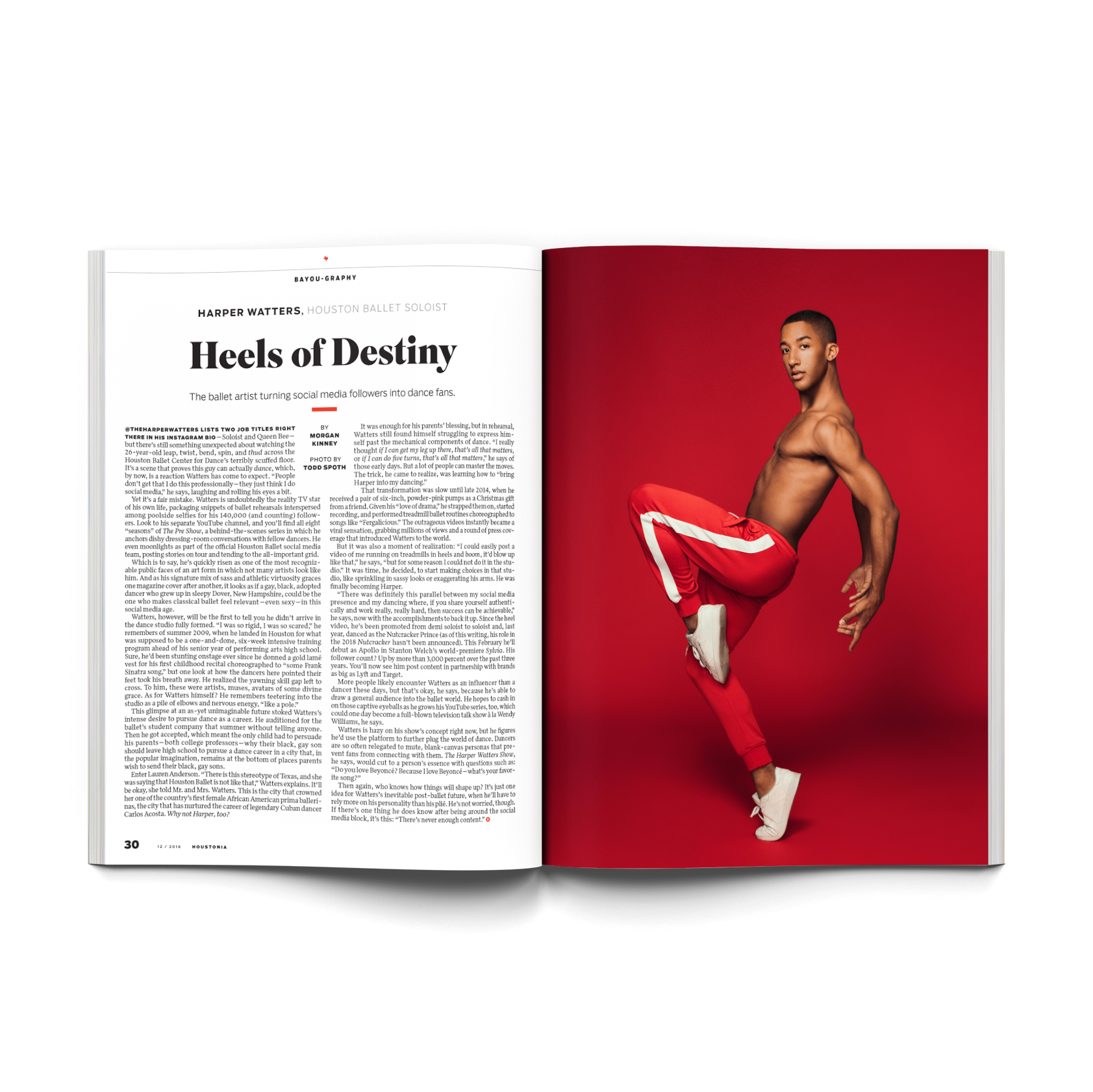Harper Watters, Houston Ballet soloist, photographed on a bright red background, in studio, for Houstonia magazine, by editorial photographer, Todd Spoth.