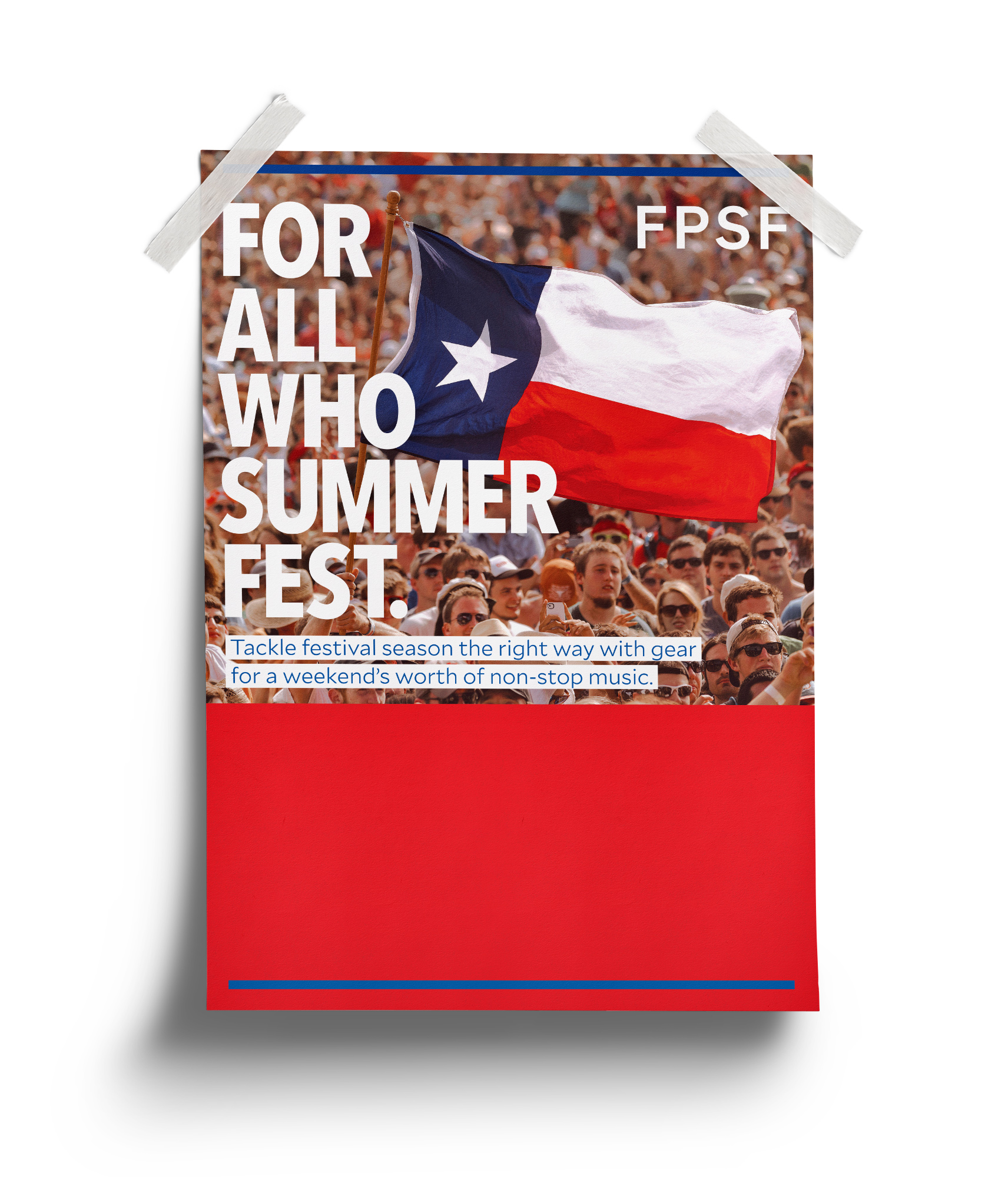 Texas flag being flown in a festival crowd photograph captured by Todd Spoth and in use by Academy Sports & Outdoors.